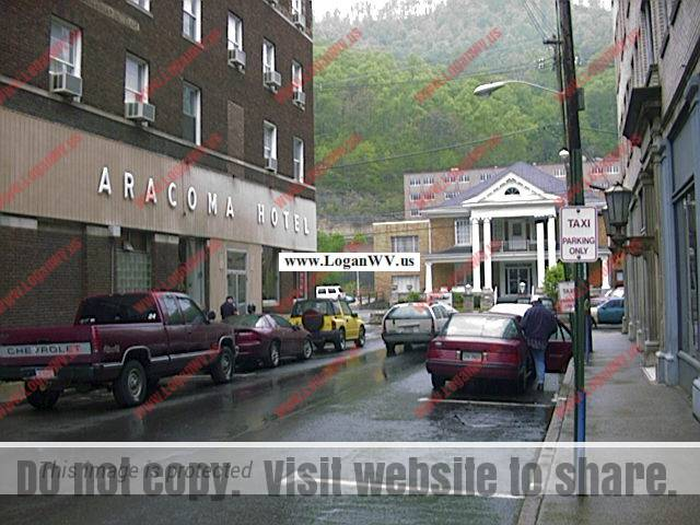 Photo of Cole Street, Logan WV showing the Aracoma Hotel