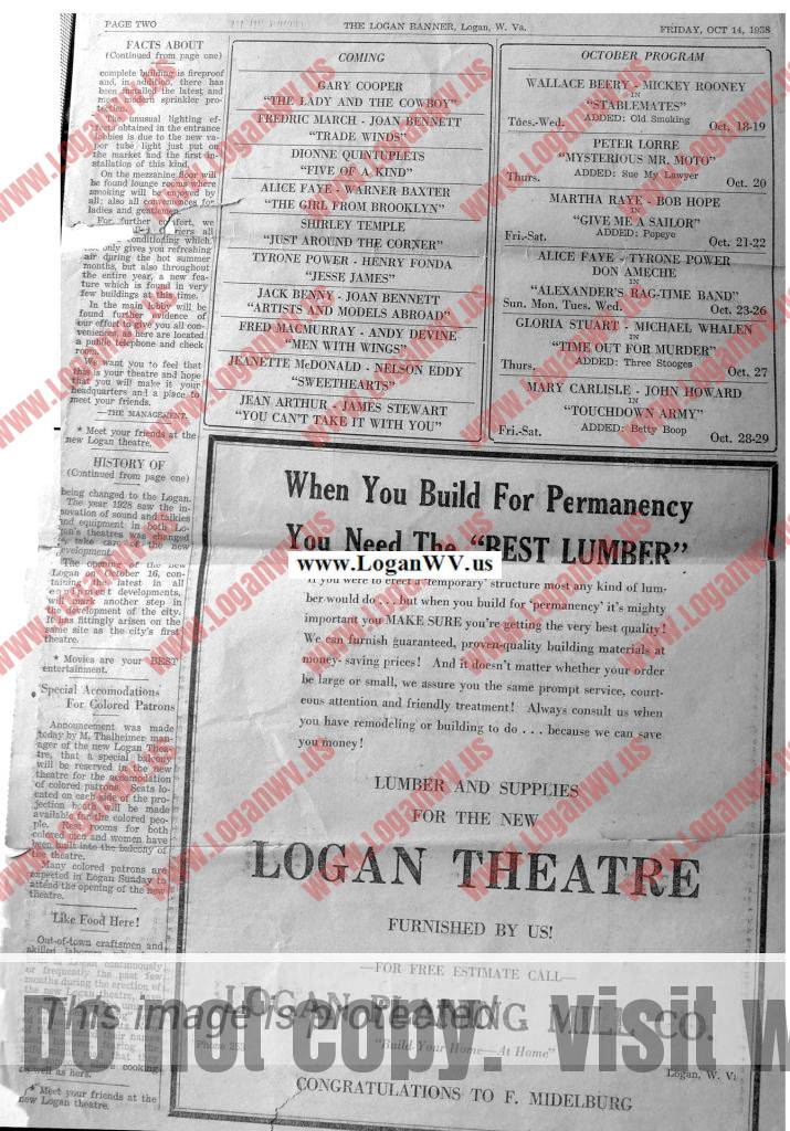 1938 Logan Banner - Logan Theatre Supplement, Page 2 (2)
