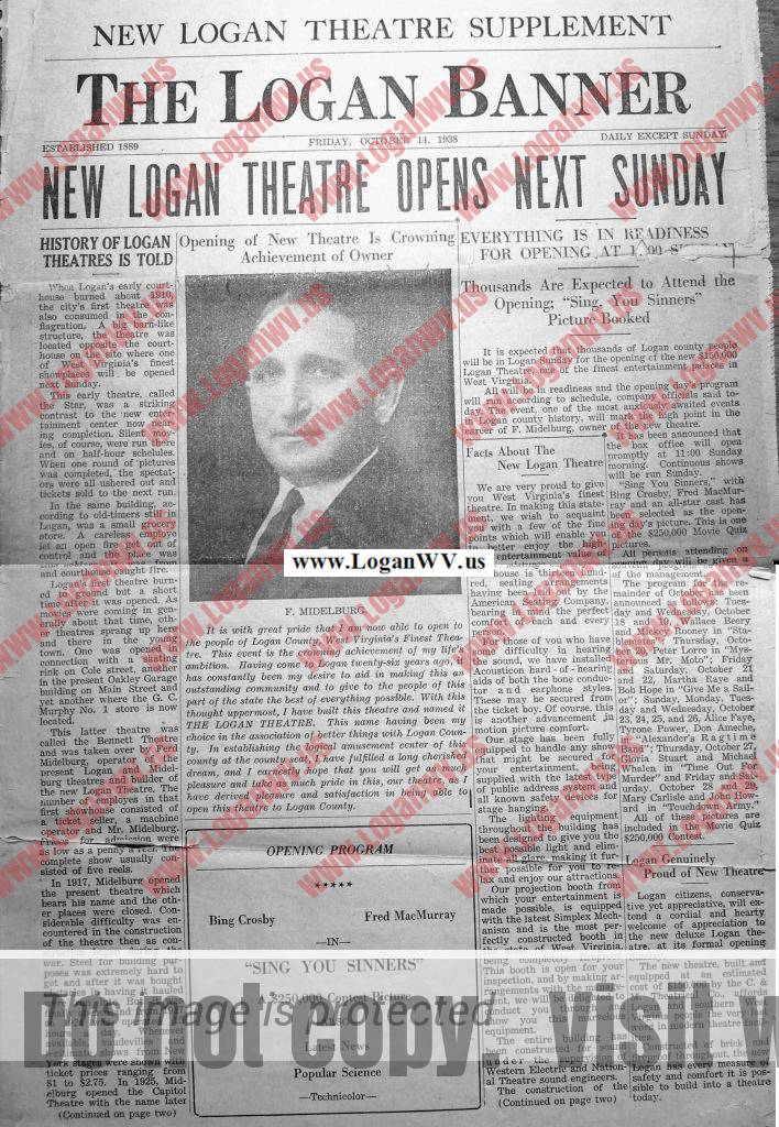 Logan Banner Oct. 14, 1938 - New Logan Theatre Opens Next Sunday