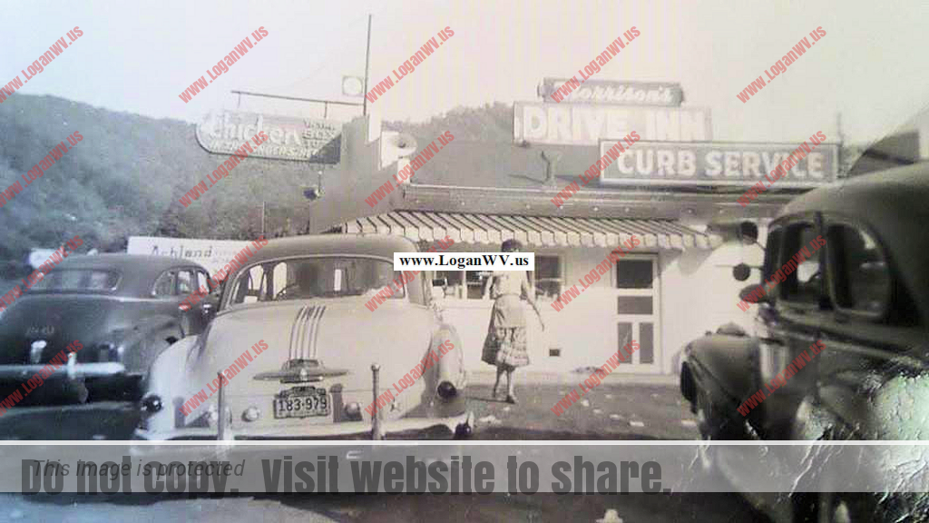 Morrison's Drive Inn mid 1950s with Sally Wall on curb courtesy of Michael Dent