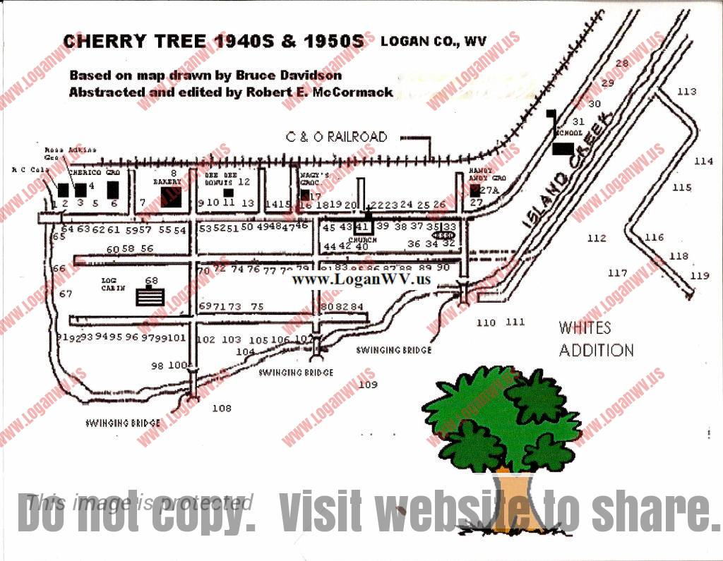 Cherry Tree Map 1940s and 50s