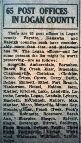 65 Post Offices in Logan County, Logan Banner, 24 September 1926