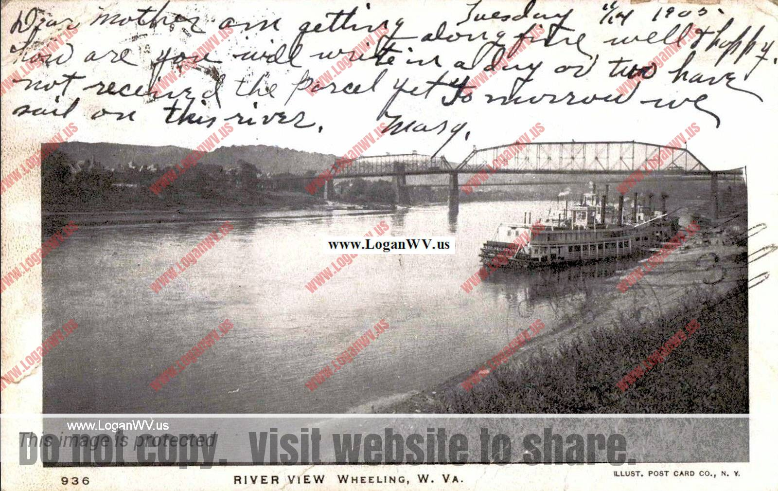 1905 Postcard River View, Wheeling, WV