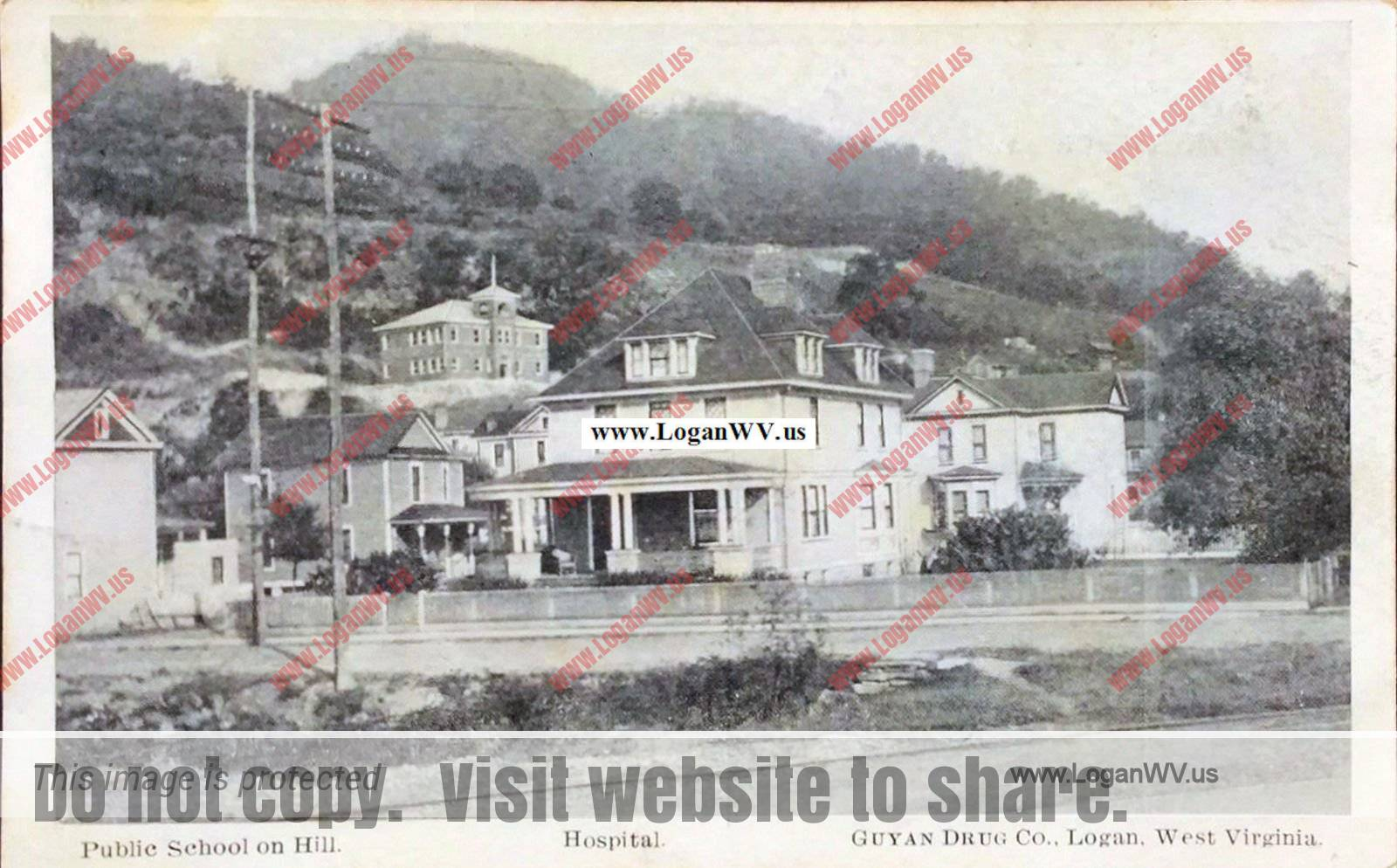 1909 Logan, WV Public School and Hospital Postcard