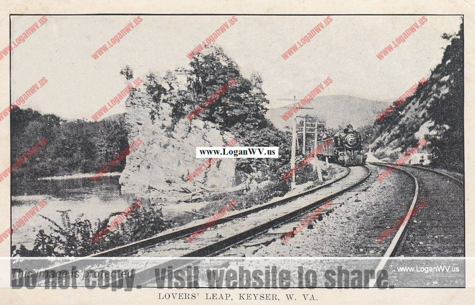 1910 Postcard, Lovers Leap, Keyser, WV