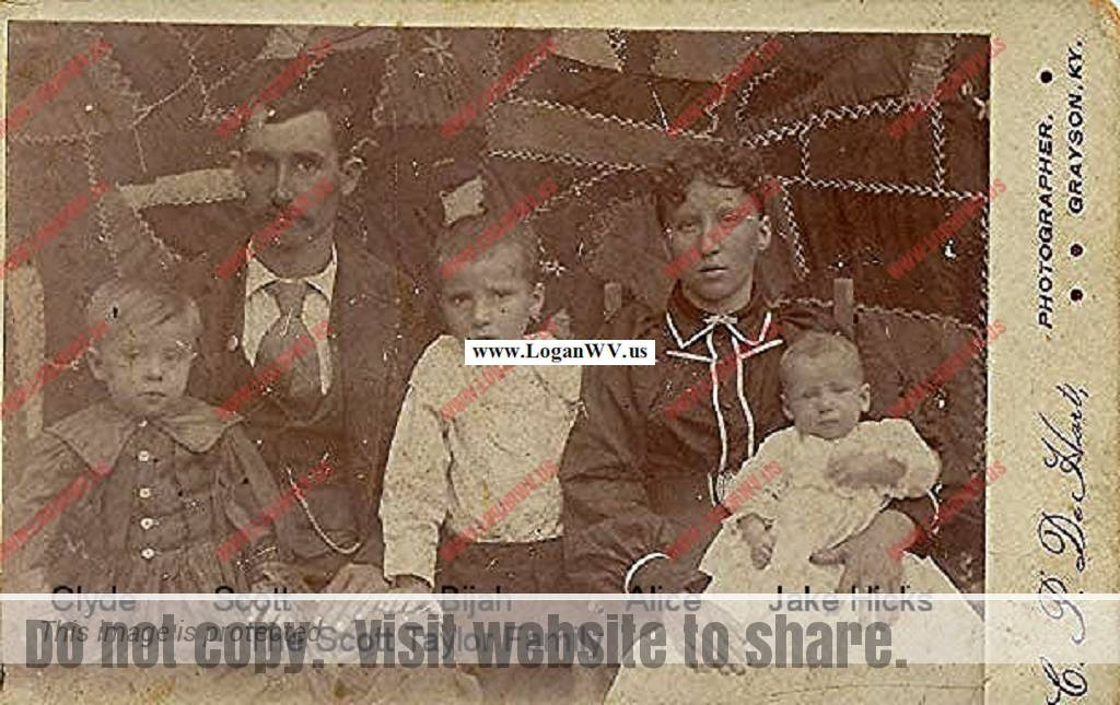 Lewis Scott Taylor Family of Carter County, KY. Clyde Taylor, Scott Taylor, Bijah Taylor, Alice Taylor holding Jake Hicks.