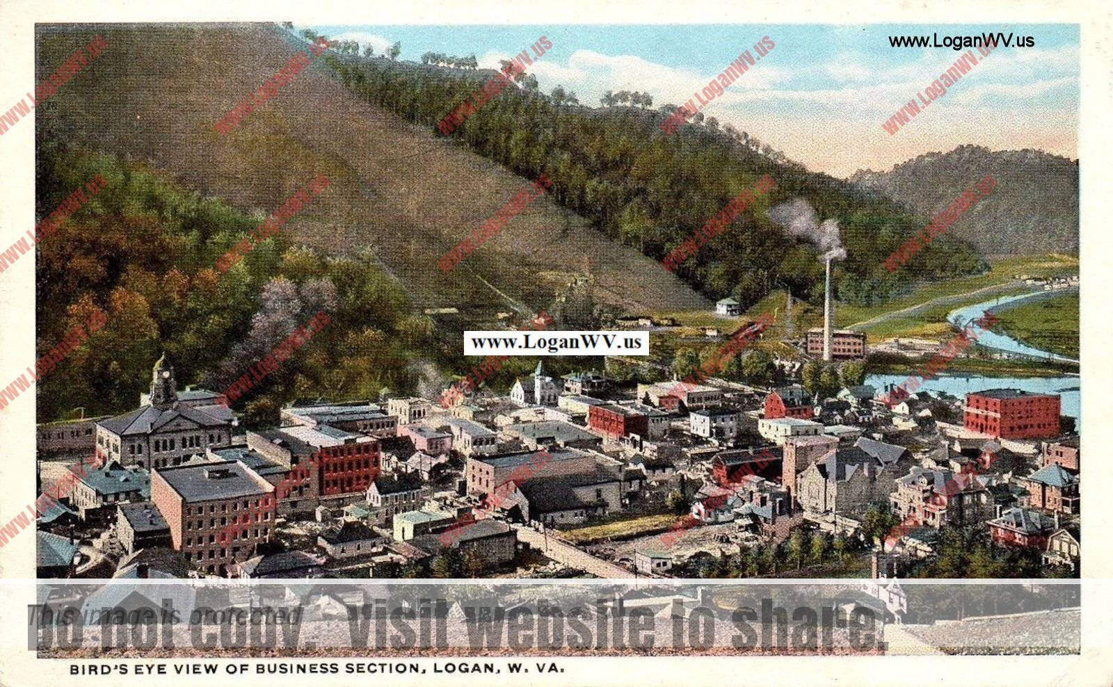 Circa 1916 Logan, WV View of Business Section