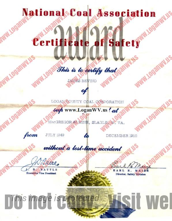 National Coal Association Certificate of Safety