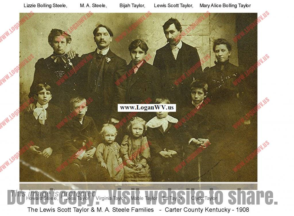 Scott Taylor and M A Steele Families. Back: Lizzie Steel, M A Steele, Bijah Taylor, Scott Taylor, Alice Taylor  Front: Howard Steele, Jess Taylor, Virginia Taylor, Mabel Taylor, Ed Taylor, Clyde Taylor