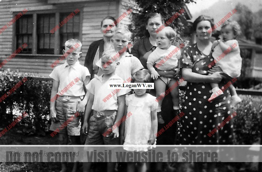 Taylor Family visit to Switzer, WV. Bobby Wendell, Mrs. Adkins behind Ray Wendell and Doreen Taylor, Elizabeth Seplocha Taylor holding Billy Taylor and Lula Taylor holding Lois Taylor. The Wendell boys are the step chldren of Jess Ursel Taylor Senior
