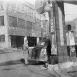"""1947 photo of my Dad, Joe Piros Sr. pumping gas at his Gulf Station in Black Bottom."" Courtesy of Bob Piros."