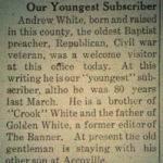 Andrew White Oldest Preacher, Logan Banner, 5 June 1914