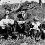 GP Harvey holding daughter Pauline Harvey, Peter Flanigan, Mary Harvey, and Sicely Harvey 1916. Courtesy of Richard Flanigan.