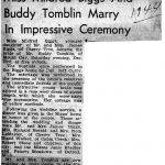 Miss Mildred Biggs and Buddy Tomblin marry 1944