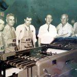 Bill Clark at Pilgrim Publishing House in Indianapolis, IN.  Bill is the the extreme right.  The family moved to Indianapolis so that Bill could work at the Pilgrim Holiness Headquarters.