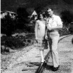 Elizabeth Taylor and Johnny Jones walking the railroad track from church
