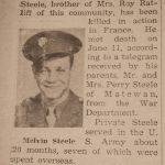 Pvt. Melvin Steele dies in action.  WWII clipping courtesy of Susan Muncey.