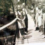 Rev. Bailey with daughters Laura, Betty, Winona, and Ruth on the Guy Gore Swinging bridge.  Ruth Clark is also in the picture.