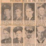 The three Esque brothers going off to war, shown on the top row. My Uncle Carmel Esque, died in a coal mining accident in Man, WV, my dad Rezin Johnny