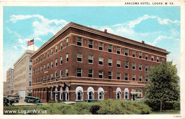 Logan, WV Aracoma Hotel Postcard with a 1937 postmark