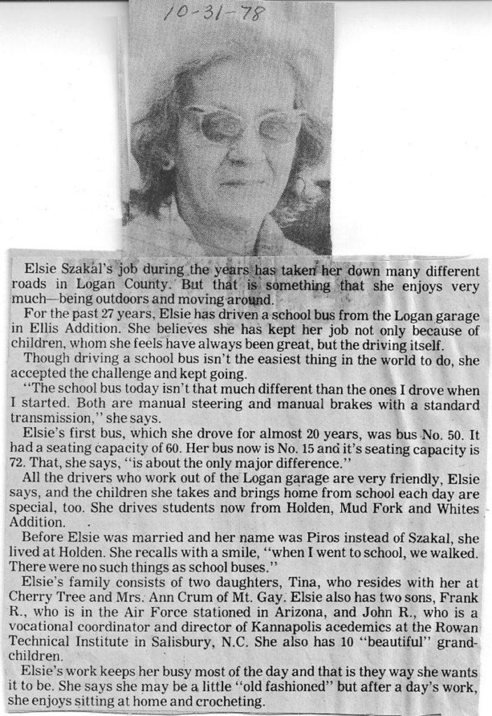 Elsie Szakal Logan Banner clipping Oct. 1, 1978