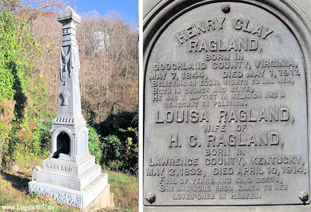 Vandalized Ragland Monument at City Cemetery, High Street, Logan, WV.
