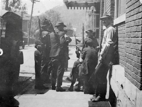 Outside the Aracoma Hotel during the Battle of Blair Mountain courtesy of Joe Adams.