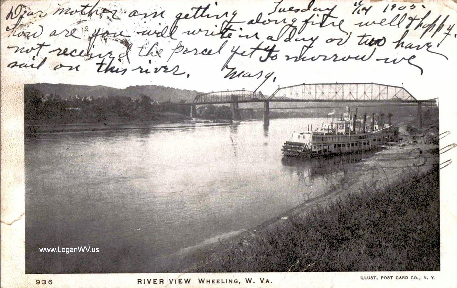 1905 Postcard River View, Wheeling, WV