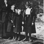 Alice, Virginia, Elizabeth and Mabel Taylor. Taken on a Sunday morning as they walk the railroad to church in Cherry Tree. Taken about 1916. Mabel died in 1918.