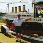 Bennie Blair -Captain C. B Blair  Bennie lived with his grandparents, Jim & Martha Blair 1933-1947 in the big house beside the Thompson swinging bridge until his grandfather's death in 1947. Pictured here with one of his toys-replica of The Titantic on the Delaware River.