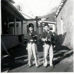 Bob Szakal and Bob Piros in 1956.  Taken behind the Anna Tarkany home between the home and the Paul Tarkany cable shop.