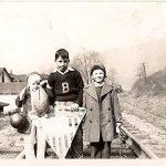 Bruce Davidson & Joe Piros JR on railroad -Rev Hattie Hickman home in background