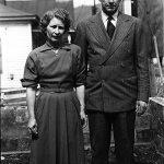 Virginia & Clovis McCormack -1951 -Pilgrim Holiness Church in backgound