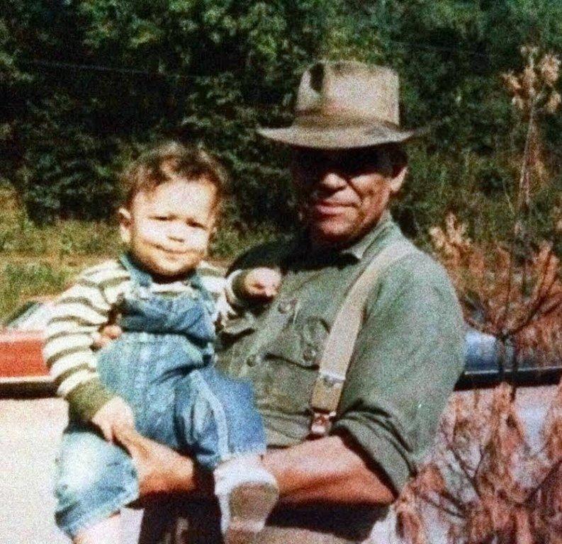 Clifton Black with Grandson, Ralph Black 1974, Cherry Tree, WV