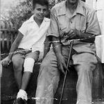 Clovis and son, Bobby McCormack of Cherry Tree, WV.  Taken on the front stoop of their home.