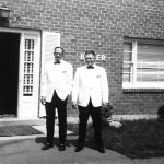 Clovis and Ronald McCormack.  Taken in August of 1963 on the campus of Easter Pilgrim College outside of Baker Hall where Robert lived.  Day of the wedding of Robert McCormack and Esther Baker.