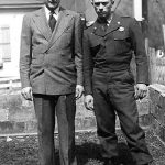 Clovis McCormack and Ronald McCormick, US Army paratropper,  taken in their front yard at Cherry Tree, WV before Ron went to Korea..