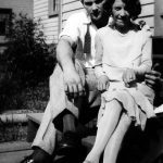 Elizabeth Taylor with boyfriend Johnny Jones of Monitor, WV taken  on the back steps of her home.