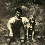 Gabor Tarkany with his dog, Prince 1935