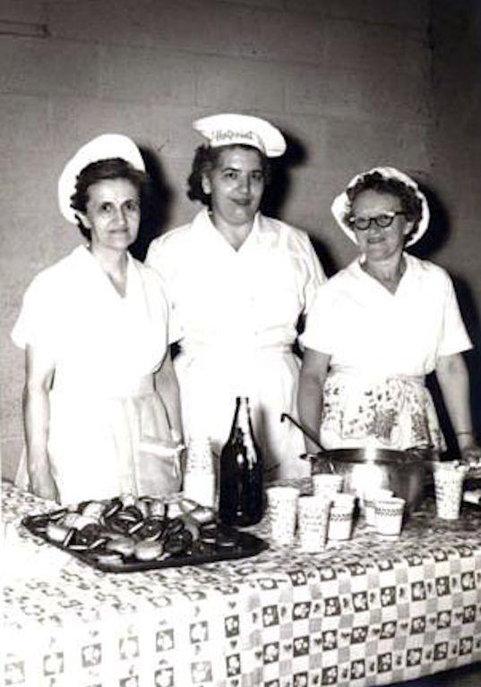 Helen Piros, Mrs Varcalle & Mrs. Stone 1960 - LHS Cafeteria crew