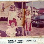 Jeanie Tiller and cousins in back alley