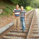 Jeremiah Shambo and Robert McCormack. Taken on the railroad tracks at Monitor, WV.