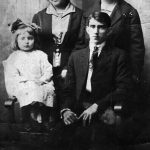 Lizzie Bowling Steele with Son, Daughter and Daughter-in-law. Back: Crilda Steele, Lizzie Bowling Steele Front: Shirley Steele, Howard Steele.
