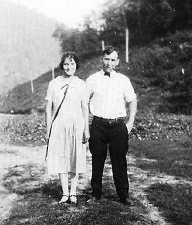 Lula Adkins Taylor and Jess Ursel Taylor. Taken at the ballpark at Monitor, WV in 1926.