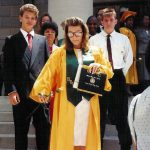 Michelle McCormack at her graduation from Seneca Valley High School, Germantown, MD. Held at the DAR auditorium  in DC.  Her mother, Esther McCormack, and brother, Robb McCormack, are  in the background.