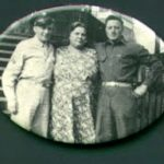 Arther, Octavia & Walter Blankenship taken about 1945 on the steps of their home in Fisher Bottom (same steps shown in Herb Blankenship's birthday party)  Arther is the father of Herb Blankenship, Octavia is his grandmother.