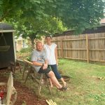 Robb McCormack and Olivia McCormack at their home in Hurricane WV during a fence building project.