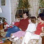 Robert McCormack Family taken in the living room of their home at Mt. Airy, MD.  Robb McCormack, Robert McCormack, Michelle, McCormack and Esther McCormack.  Dad is reading a story.