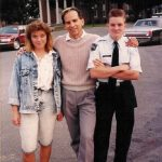 Robert McCormack with Michelle McCormack and Robb McCormack on the campus of  the Randolph Macon Military Academy in VA.