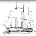 S. S. Edinburgh ship.  Sketch of ship done by Frank Doll.  George and Catherine Taylor sailed from Greenock, Scotland in 1858 on the same ship that had hit an ice burg three months before.